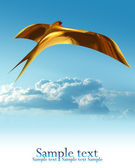 The first golden swallow on blue sky — Stock Photo
