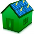 Stock Vector: Green house with solar power