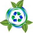 Stock Vector: Recycle green icon with leaves