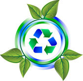 Recycle green icon with leaves — Stock Vector