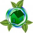 Green eco house — Stockvectorbeeld