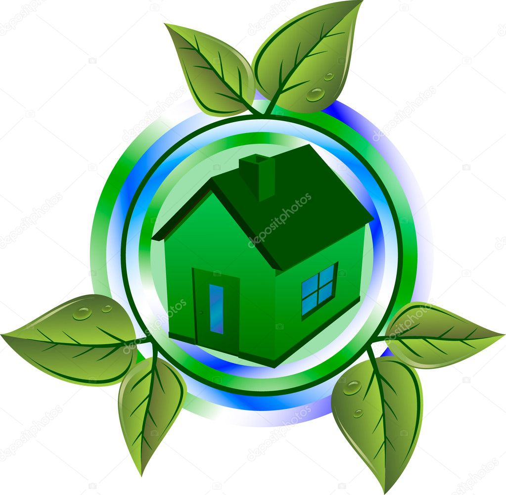 Green house and leaves — Stock Vector #2803167