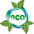 Eco green icon with leaves — Stock Vector