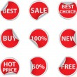 Stock Vector: Set of red discount sale stickers