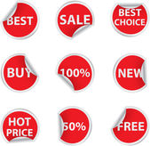 Set of red discount sale stickers — Stock Vector