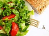 Healthy vegetarian Salad and bread — Stock Photo