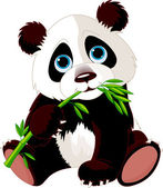 Panda eating bamboo — Stock Vector