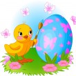 Chicken Painting Easter Egg — Vector de stock