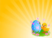 Chicken Painting Easter Egg Background — Stock Vector