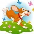 Puppy and butterflies — Imagen vectorial
