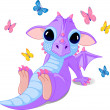 Cute sitting baby dragon - Grafika wektorowa