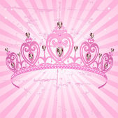 Princess Crown on radial background — Stock Vector
