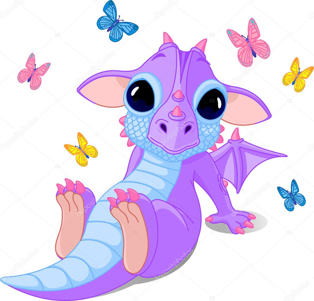 Cute sitting baby dragon with butterflies  Stock Vector #2832894
