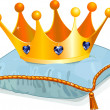 Queen's crown on the pillow — Imagens vectoriais em stock