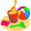 Beach Toys - Pail, Shovel, Ball — Vettoriali Stock