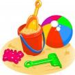Beach Toys - Pail, Shovel, Ball — Stock Vector #2974485
