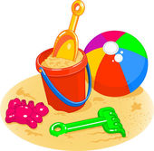 Beach Toys - Pail, Shovel, Ball — Vettoriale Stock