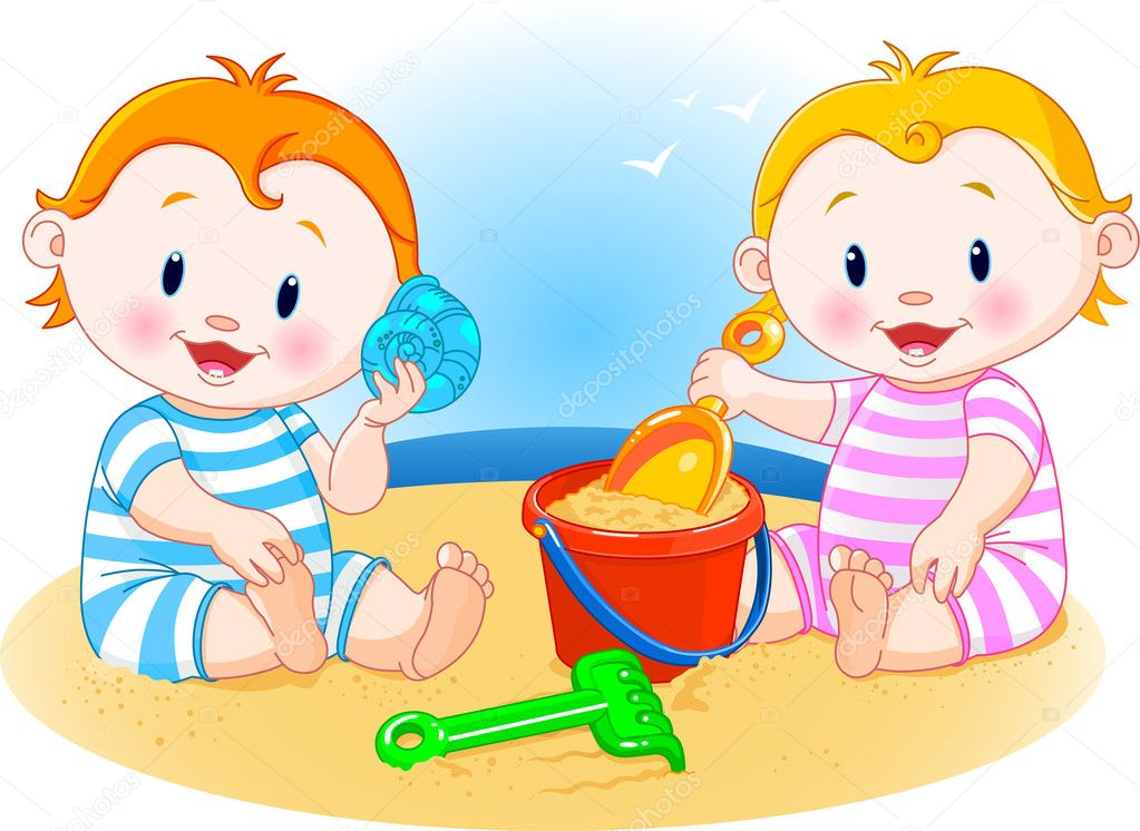 Kids Playing At The Beach Clip Art