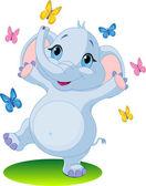 Baby elephant dancing with butterflies — Stock Vector