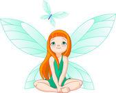Fairy observes for flying butterfly — Stock Vector