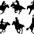 Stock Vector: Cowboys silhouettes