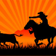 Royalty-Free Stock Vector Image: Riding cowboy