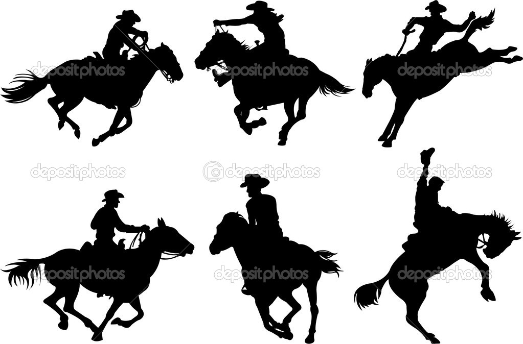 Cowboys on horses silhouettes on a white background. — Stock Vector #3031725