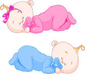 Sleeping Babies — Stock Vector