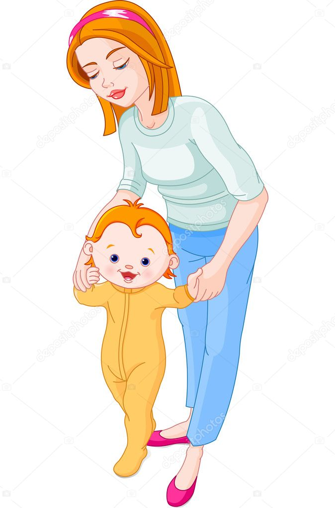 Young mum helps his baby to make the first steps — Stock Vector #3056170