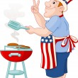 Постер, плакат: Man cooking A Hamburger