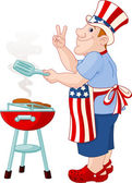 Man cooking A Hamburger — Vector de stock