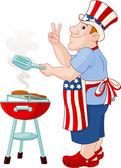 男人做饭吃汉堡包 — 图库矢量图片