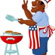 Man cooking A Hamburger — Stock Vector #3086419