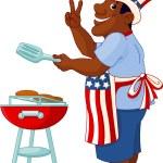Man cooking A Hamburger — Stock Vector