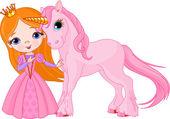 Beautiful princess and unicorn — Stock Vector