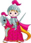 The Brave Knight on the horse — Stock Vector