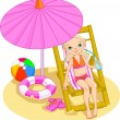 Stock Vector: Girl on the beach