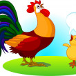Father Rooster and Baby Chick - Stock Vector