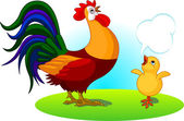 Father Rooster and Baby Chick — Stock Vector
