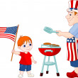 Father and Son cooking A Hamburgers — Vector de stock #3186256
