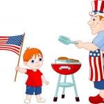 Baba ve oğul bir hamburger yemek — Stok Vektör