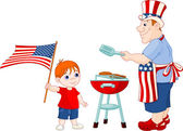 Father and Son cooking A Hamburgers — Stockvector