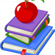 Royalty-Free Stock Imagen vectorial: Pile book with red apple