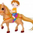 Stock Vector: Boy on horse