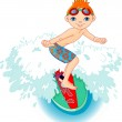 Surfer boy in Action — Stock Vector