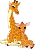Mother-giraffe and baby-giraffe — Stok Vektör