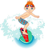 Surfer boy in Action — Vetor de Stock