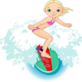 Surfer girl in Action — Stock Vector