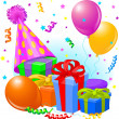 Vector de stock : Birthday gifts and decoration