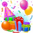 Birthday gifts and decoration — Image vectorielle